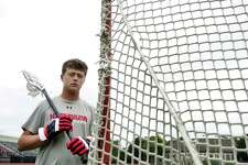 Niskayuna High School lacrosse player, Grayson Vorgang, at Union College before the start of a workout session with his father on Tuesday, July 13, 2021. (Paul Buckowski/Times Union)