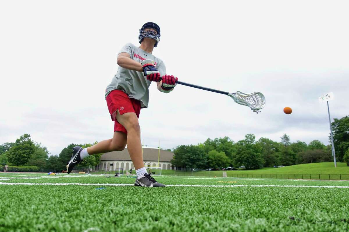 Niskayuna High School lacrosse player Grayson Vorgang works on his shooting at Union College during a workout session with his father on Tuesday, July 13, 2021. (Paul Buckowski/Times Union)