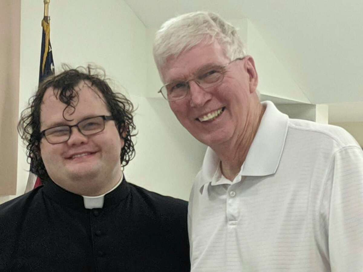 Fr's Danny Orris (left) and Tom Page (right) during a farewell celebration hosted at St. Ann the weekend before Fr. Matt Barnum began his assignment as new pastor. (Courtesy photo)