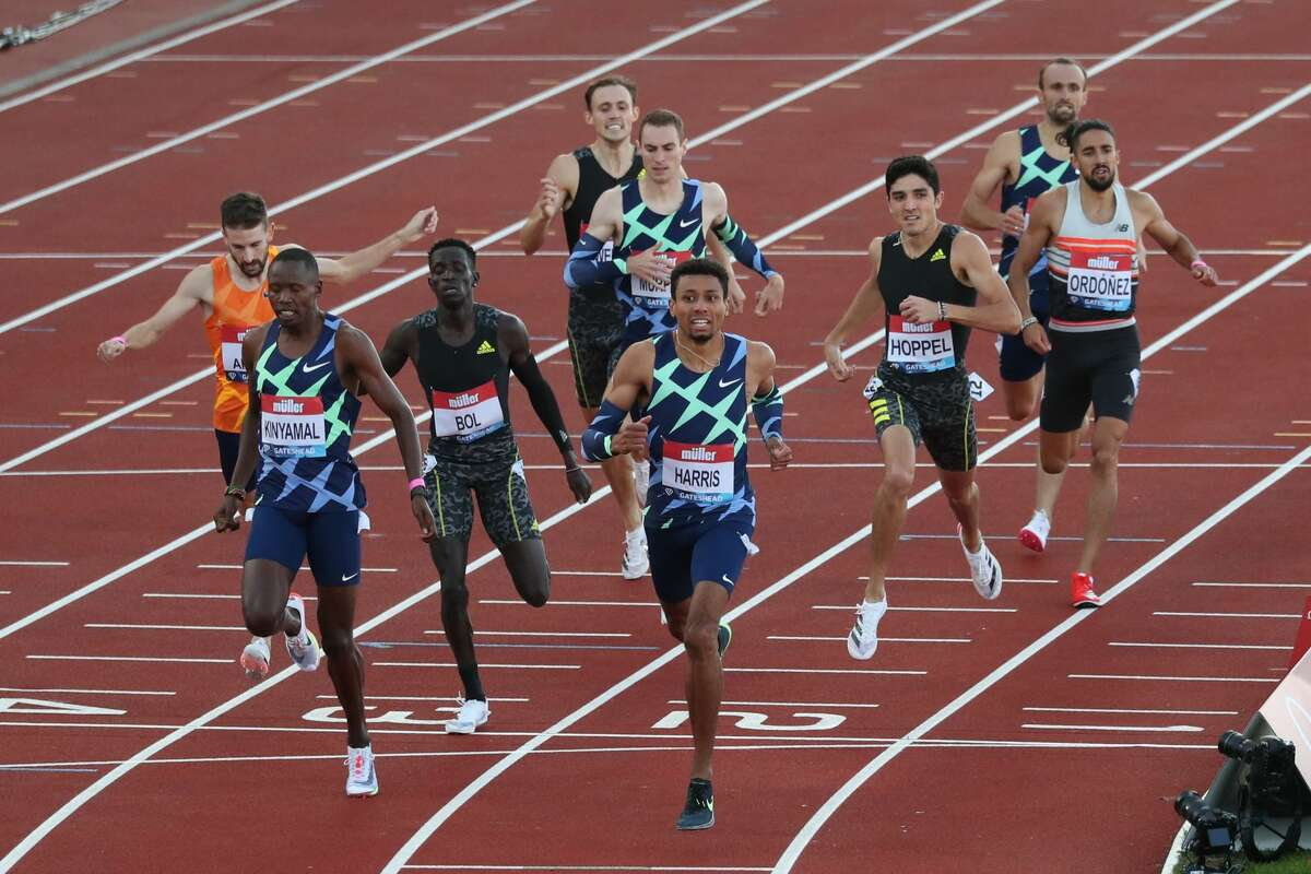 USA's Isaiah Harris (C) wins the Men's 800m final during the Diamond league British Grand Prix athletics event at Gateshead, northeast England on July 13, 2021. Bryce Hoppel, pictured third from right in black, finished fifth. (Photo by SCOTT HEPPELL / AFP) (Photo by SCOTT HEPPELL/AFP via Getty Images)