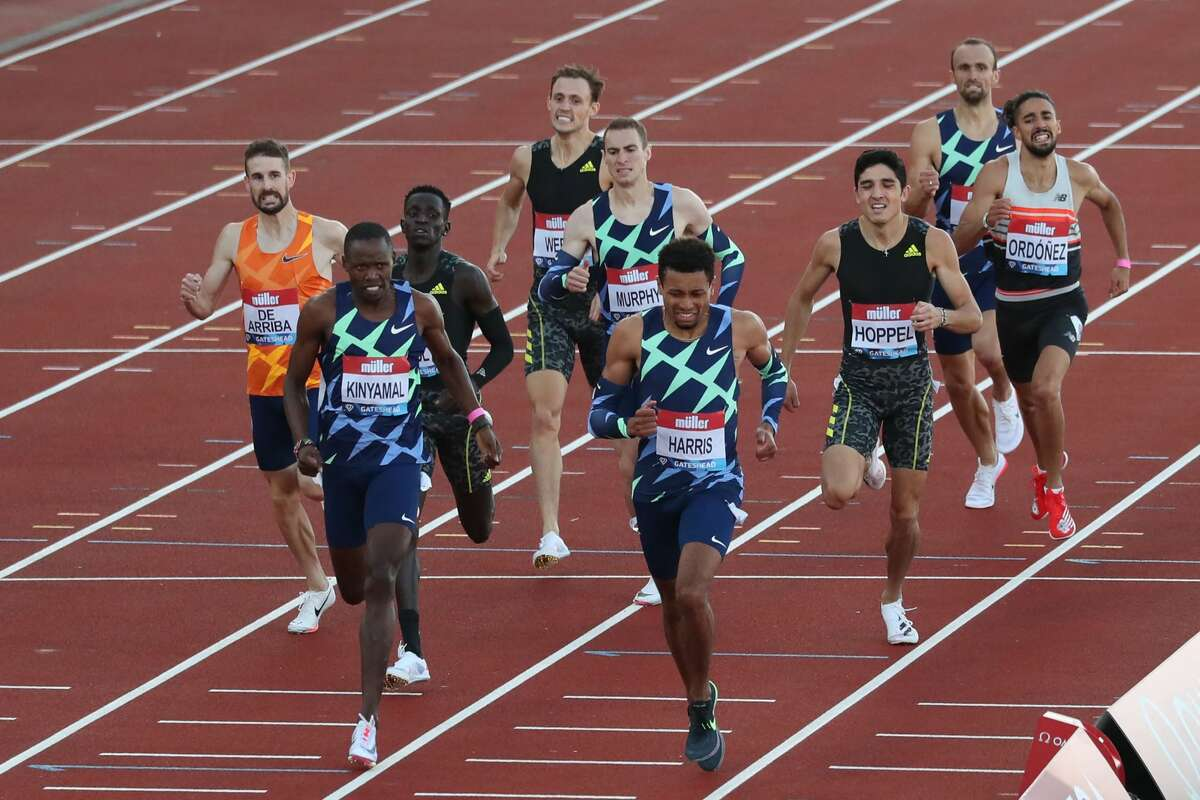 USA's Isaiah Harris (center) wins the Men's 800m final during the Diamond league British Grand Prix athletics event at Gateshead, northeast England on July 13, 2021. Bryce Hoppel, pictured third from right in the black, finished fifth. (Photo by SCOTT HEPPELL / AFP) (Photo by SCOTT HEPPELL/AFP via Getty Images)