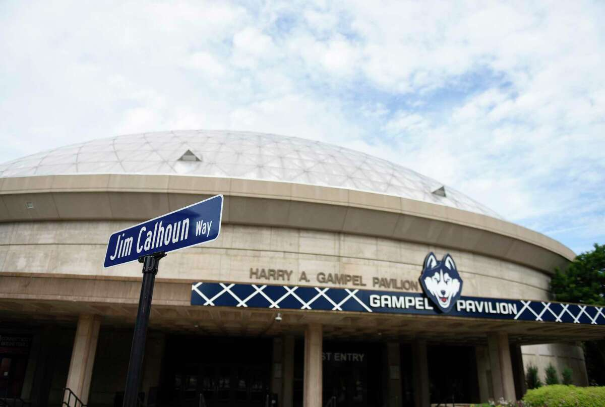 Harry A. Gampel Pavilion is located on Jim Calhoun Way, named after the former UConn men's basketball coach, on the UConn main campus in Storrs, Conn. Wednesday, June 9, 2021.