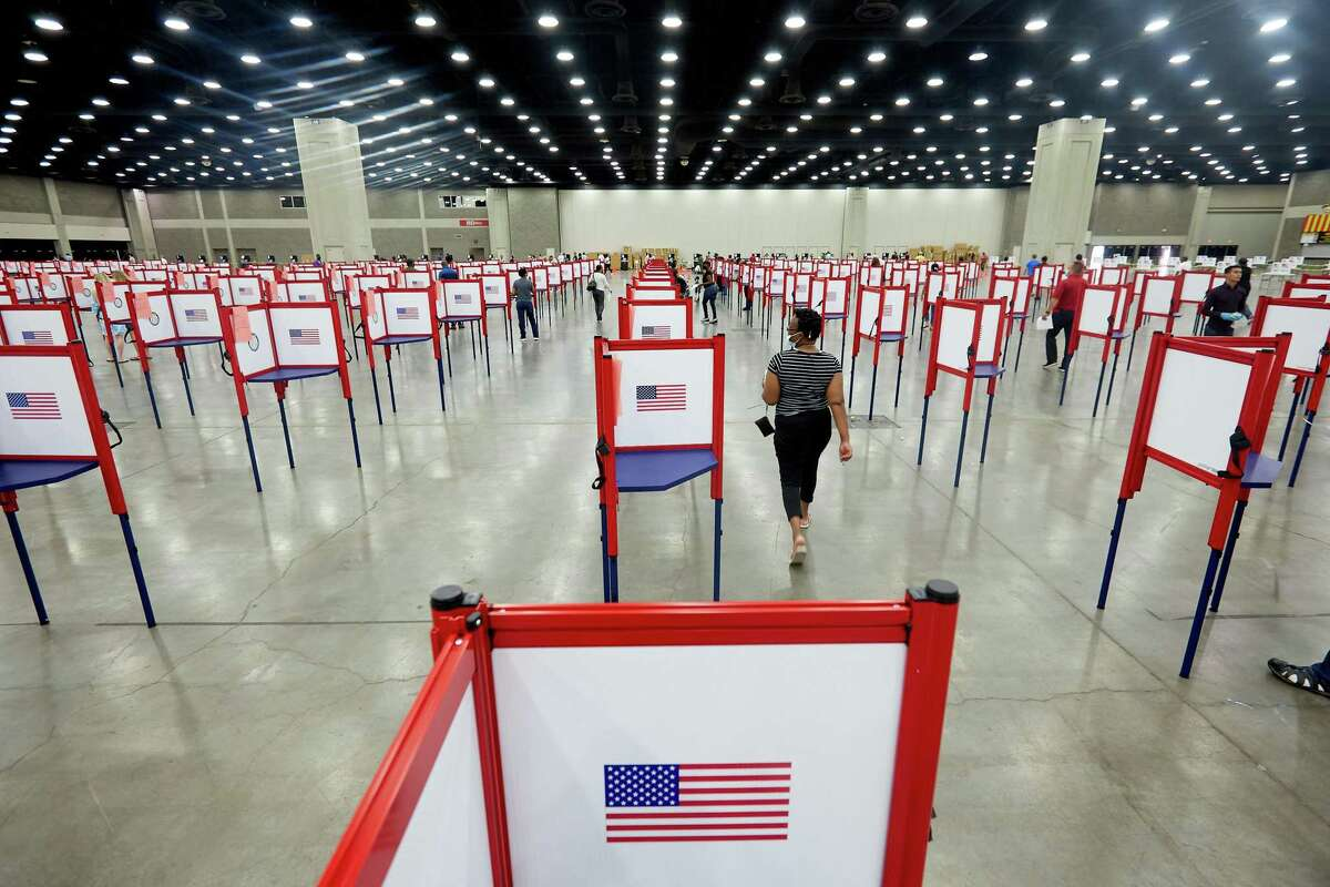 Voting booths at the polling place in the Kentucky Exposition Center in Louisville, Ky., on Tuesday, June 23, 2020. The number of voters casting absentee ballots has risen sharply because of the coronavirus pandemic, and the results of key races may not be known on Tuesday night as a result. (Erik Branch/The New York Times)