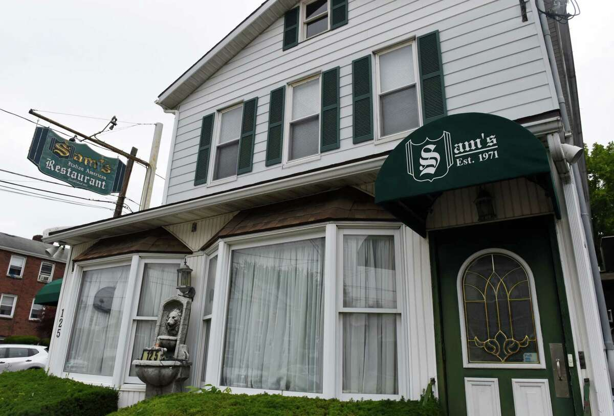 Exterior of Sam's Italian American Restaurant on Tuesday, July 13, 2021, on Southern Boulevard in Albany, N.Y. The Albany restaurant closed permanently just three months after celebrating its 50th anniversary. (Will Waldron/Times Union)