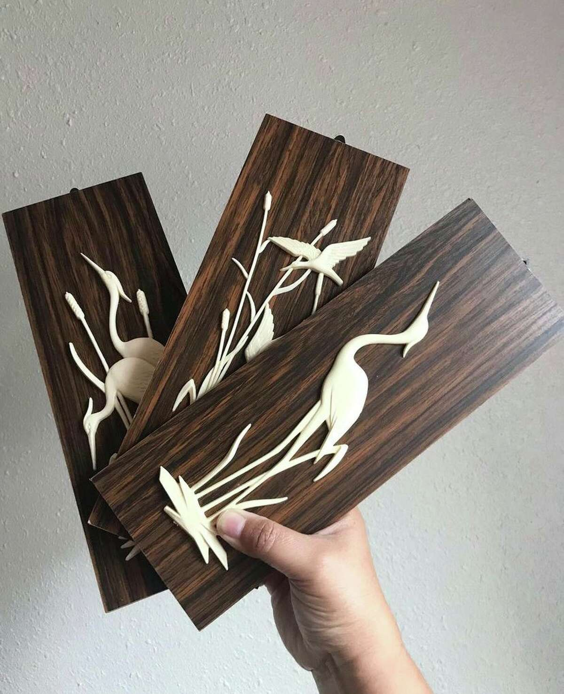 "Eclectic San Antonio A 3 piece set of mid-century crane/heron plastic and wood decorative plaques from Eclectic San Antonio, a shop out of Instagram that offers ""affordable eclectic, vintage, retro, boho decor."" Follow them on Instagram @eclecticsatx"