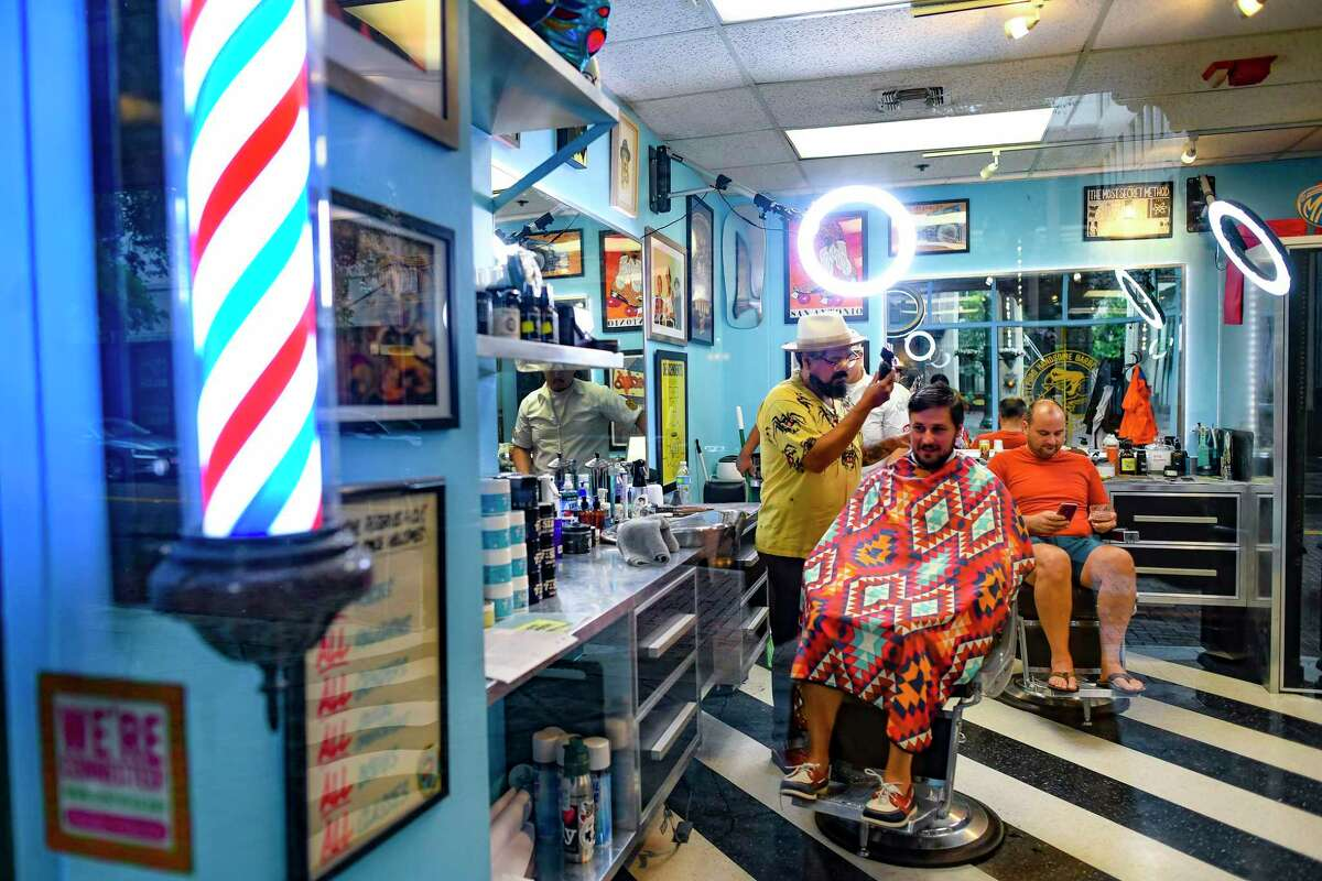 Tommie Gonzalez's Puro Handsome Barbershop next to the Majestic Theatre is only around 300 square feet but is packed with San Antonio-centric pop art and personality.