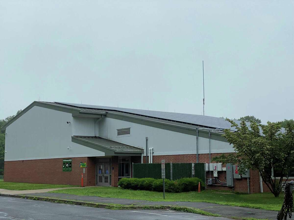 The solar panels on West School in New Canaan were not getting a lot of sun on Tuesday, July 13.