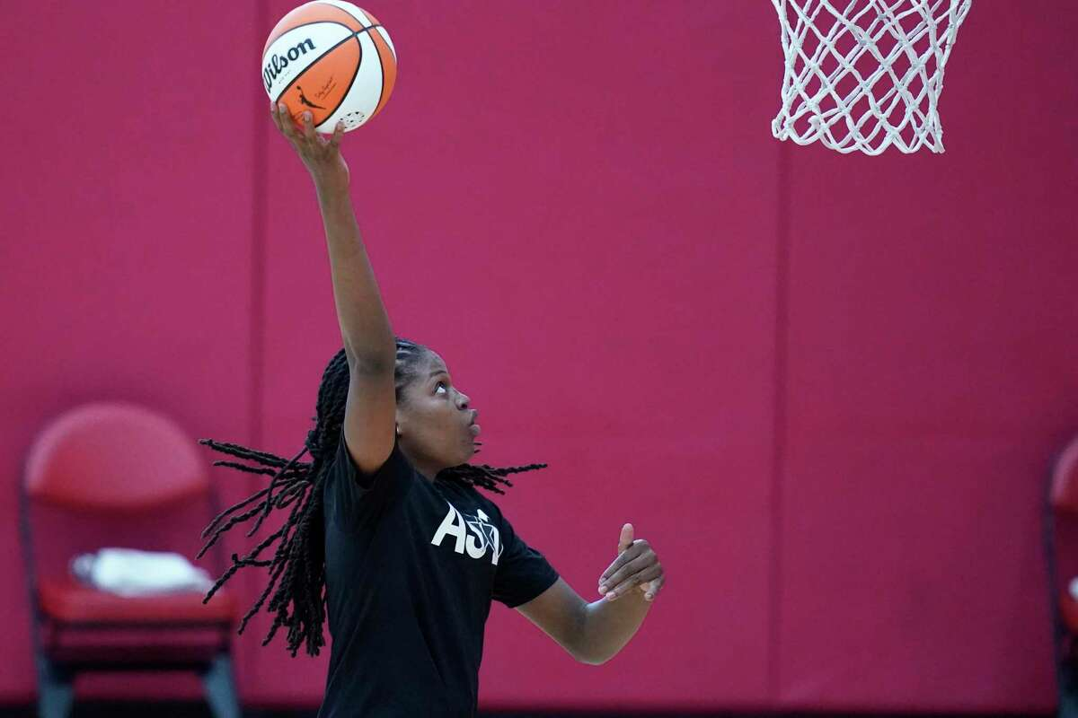 Jonquel Jones shoots during practice for the WNBA All-Star team on Tuesday in Las Vegas.
