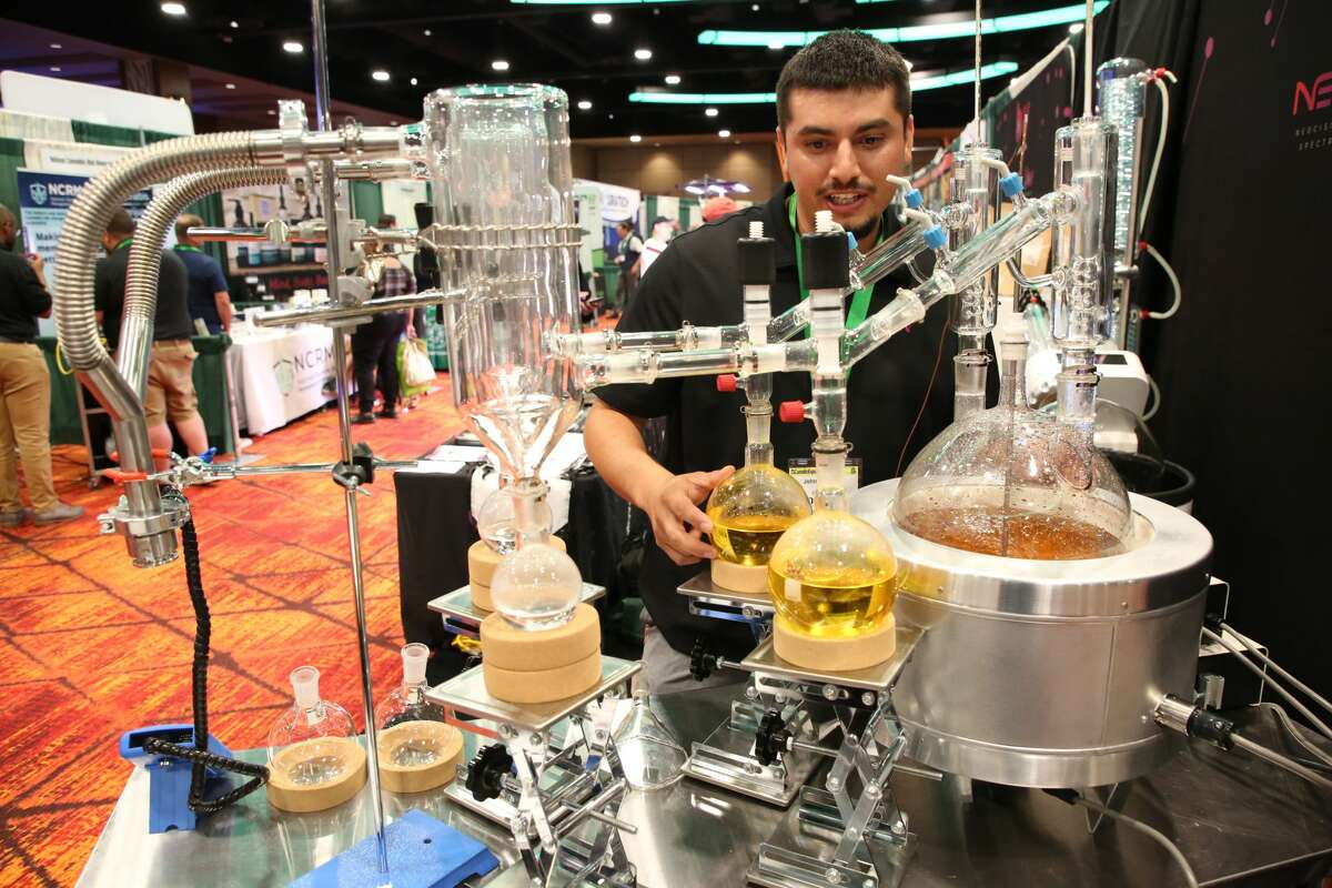 John Calderon of BVV attends the Cannabusiness Industrial Marketplace Michigan Summit and Expo Tuesday, July 13, 2021 at Soaring Eagle Casino & Resort in Mount Pleasant. (Doug Julian/for the Daily News)