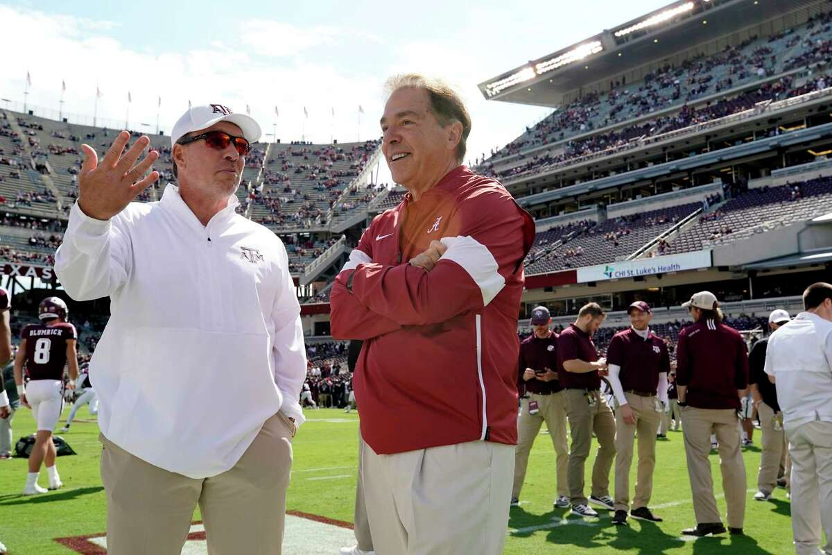 Texas A&M coach Jimbo Fisher, left, and Alabama coach Nick Saban will meet again when the Aggies host the top-ranked Crimson Tide on Saturday night at Kyle Field.
