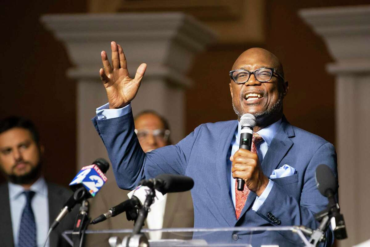 Pastor James Dixon talks about voter suppression efforts and a planned march by faith leaders in Austin on Thursday to the Capitol, during a press conference, Tuesday, July 13, 2021, at the Community of Faith Church in Houston.