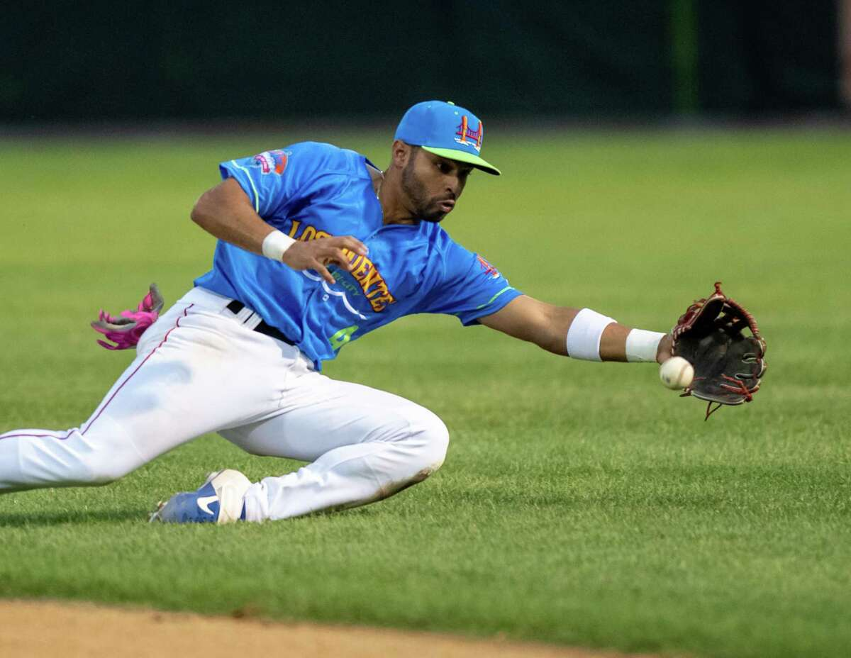 Tri-City ValleyCats second baseman Luis Roman makes a play in the hole against the Washington Wild Things at the Joseph L. Bruno Stadium on the Hudson Valley Community College campus in Troy, NY, on Tuesday, July 13, 2021. (Jim Franco/Special to the Times Union)