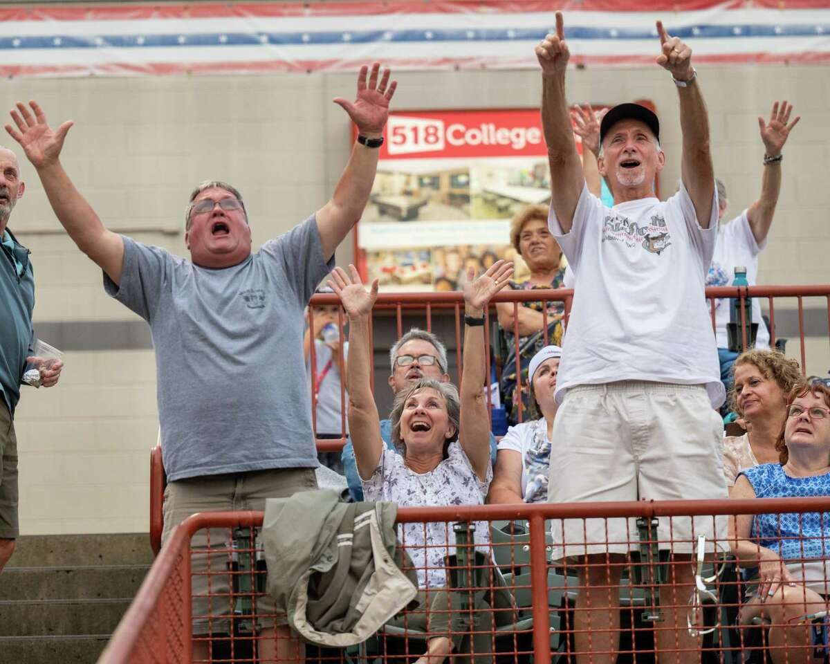 Tri-City ValleyCats fans cheer for their team during a game against the Washington Wild Things at the Joseph L. Bruno Stadium on the Hudson Valley Community College campus in Troy, NY, on Tuesday, July 13, 2021. (Jim Franco/Special to the Times Union)