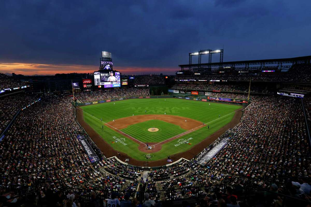 DENVER, COLORADO - JULY 13: A general view as the sun sets during the 91st MLB All-Star Game at Coors Field on July 13, 2021 in Denver, Colorado. (Photo by Justin Edmonds/Getty Images)