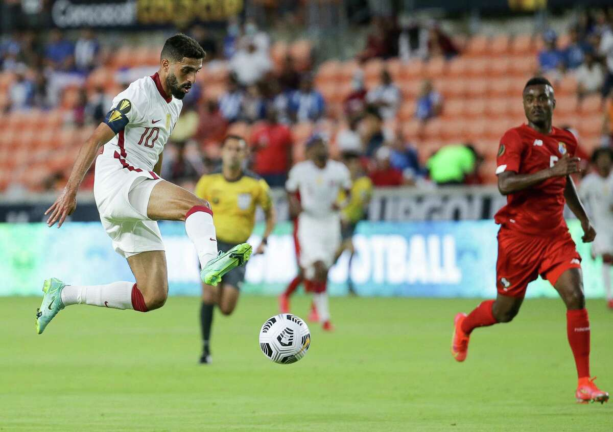 Qatar forward Hassan Al-Haydos (10) unsuccessfully tries to control a long pass during the first half of a CONCACAF Gold Cup group stage match against Panama at BBVA Stadium on Tuesday, July 13, 2021, in Houston.