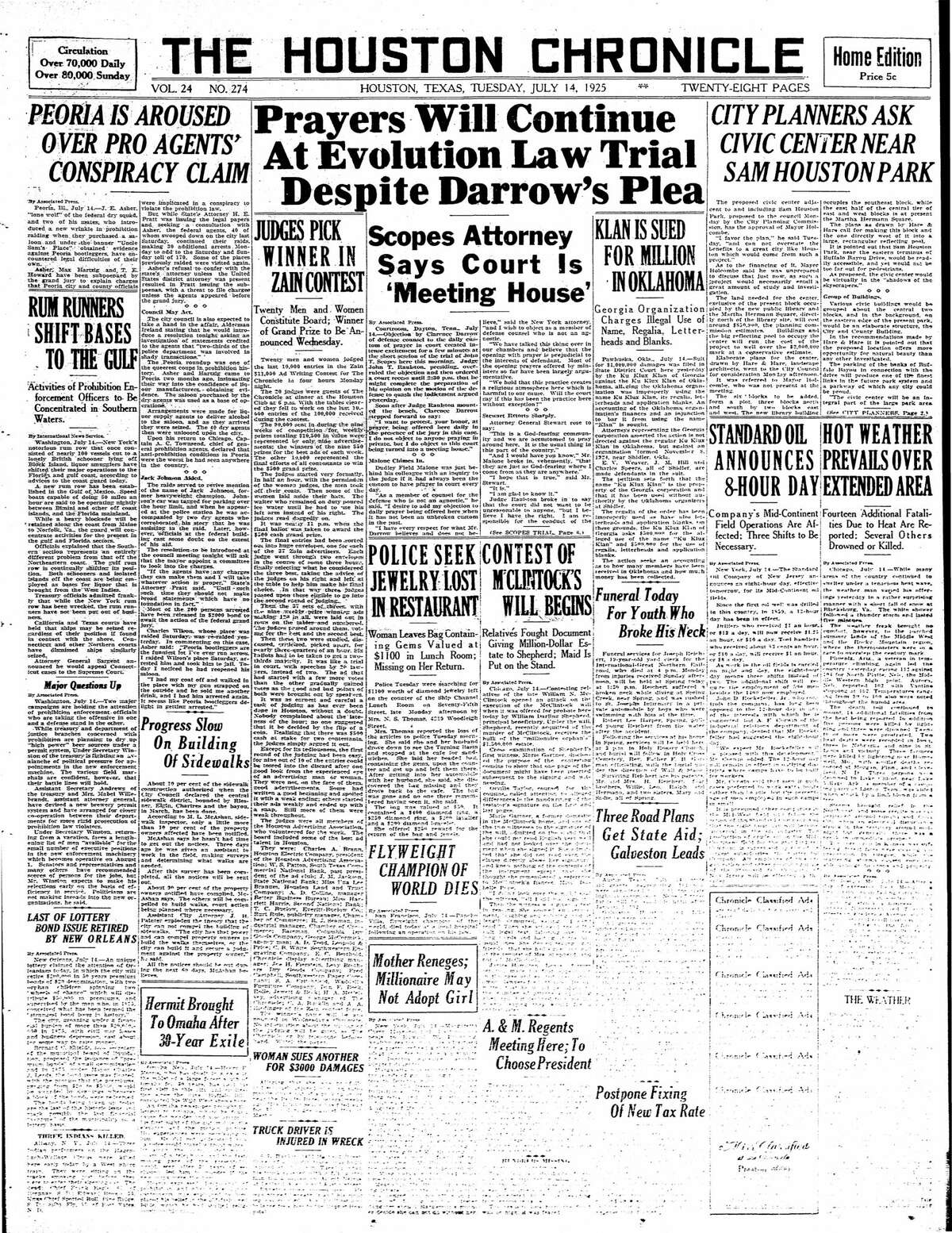 Houston Chronicle front page from July 14, 1925.