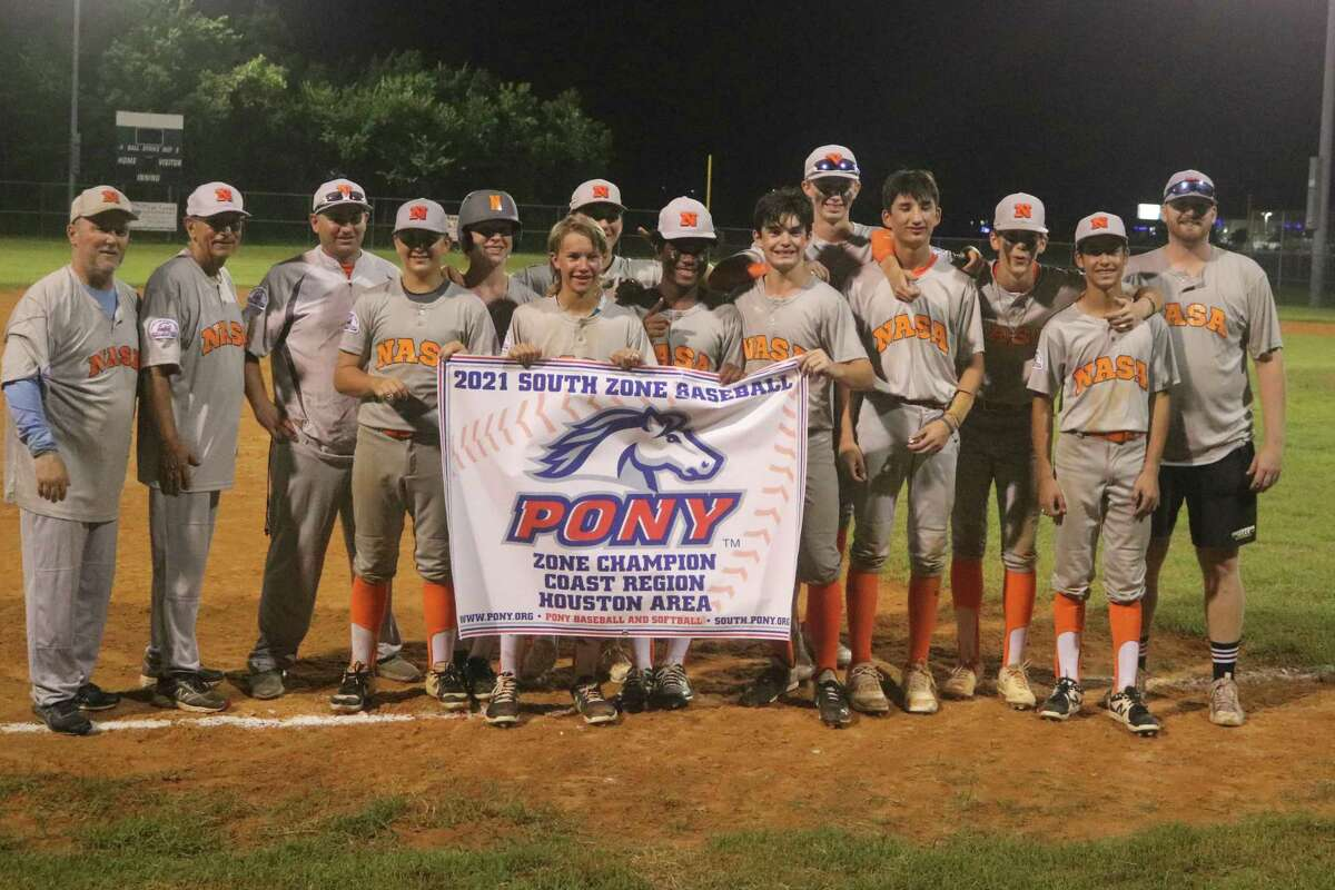 The newly-crowned Coast Region Pony Baseball champs display their banner Tuesday night. Next stop, South Zone play in Louisiana on July 28.
