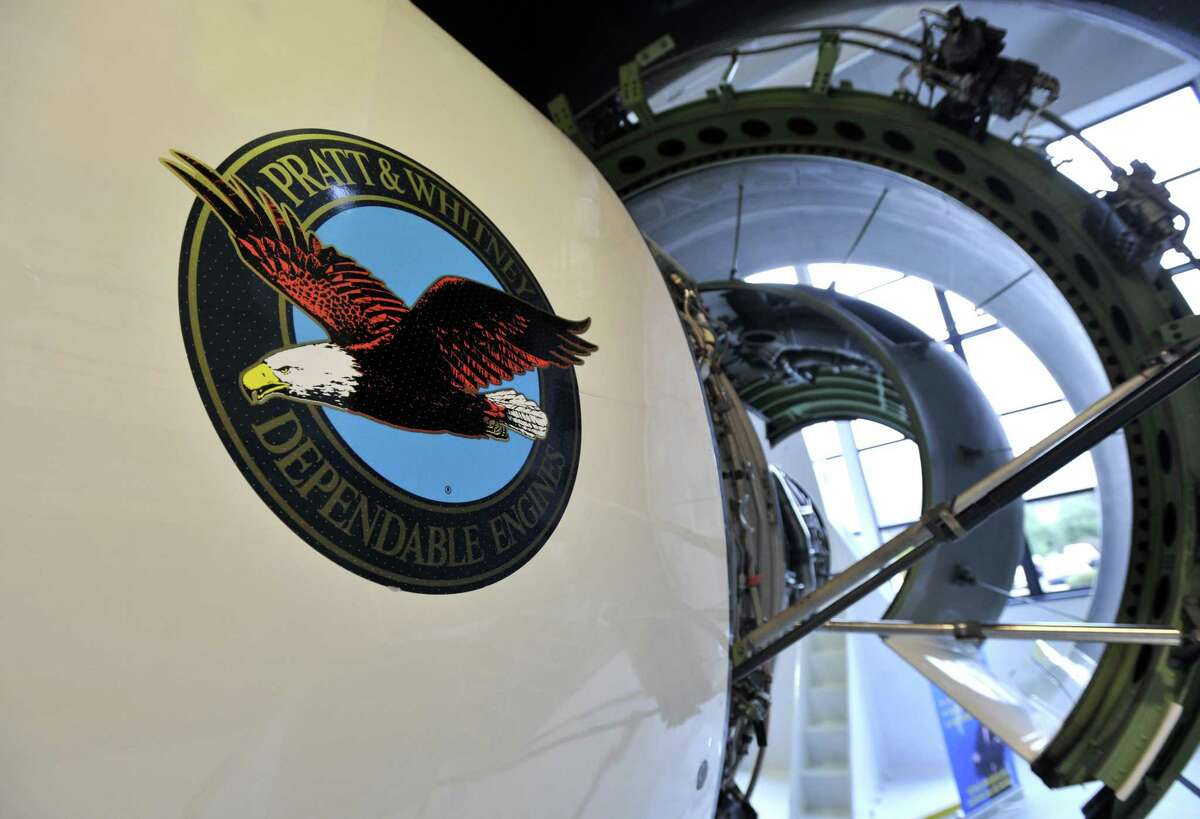 A Pratt & Whitney engine is seen during a media day tour at company headquarters in East Hartford.