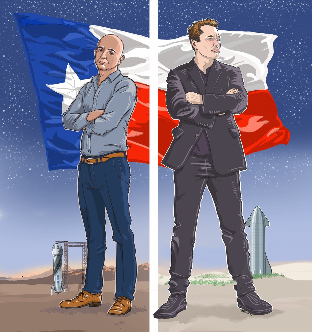 Amazon founder Jeff Bezos and Tesla founder Elon Musk have both founded commercial space enterprises, and both are launching spacecraft from Texas.