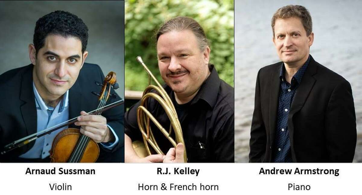 The New Canaan Chamber Music, (NCCM,) has announced that its first indoor, and air conditioned concert, amid the coronavirus pandemic, is taking place on Sunday, Aug. 8. at 4 p.m. at the First Presbyterian Church in New Canaan. Pictured, from the left to the right, are: Violinist Arnaud Sussman, French Horn Player R.J. Kelley, and the Chamber Music's Founding Artistic Director, and World Class Pianist Andrew Armstrong.
