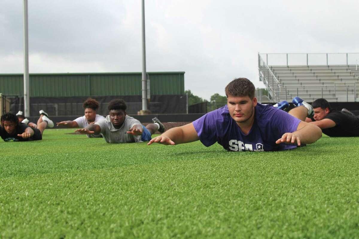 Humble sophomore offensive lineman Ayden Alvarez during summer workouts.