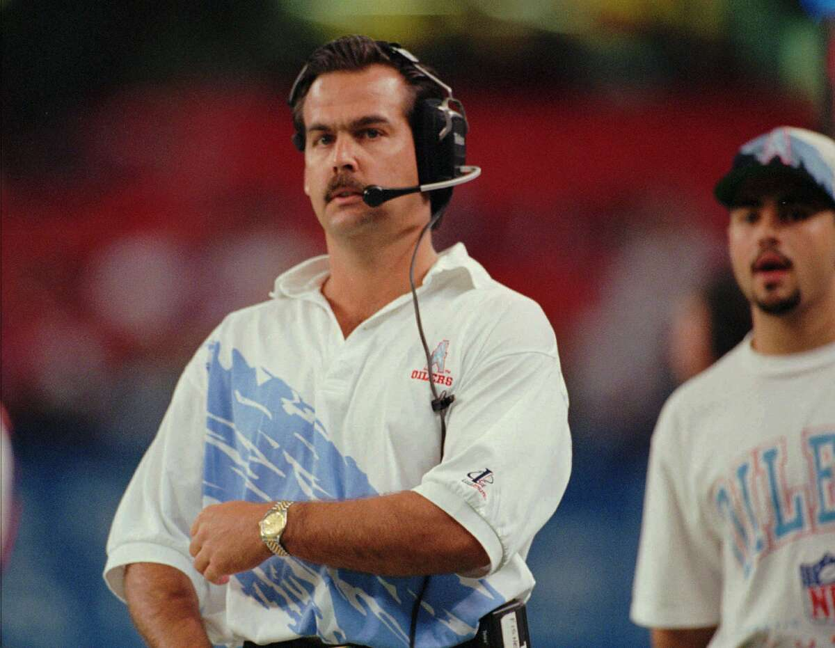 Houston Oilers head coach Jeff Fisher watches a play against the Tampa Bay Buccaneers Sunday, Oct. 29, 1995, in Houston. The Oilers beat the Cleveland Browns 37-10 Sunday, Nov. 5, 1995, and are one game behind AFC Central Division leader Pittsburgh Steelers.