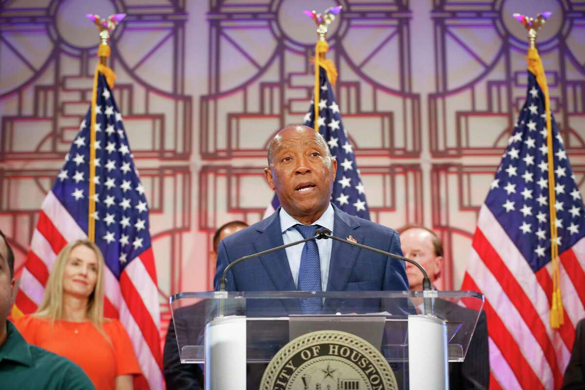 Mayor Sylvester Turner speaks at a press conference in June. Turner shut down a project in the controller's office that would have increased the amount of city payment, payroll and financial data available to the public online.