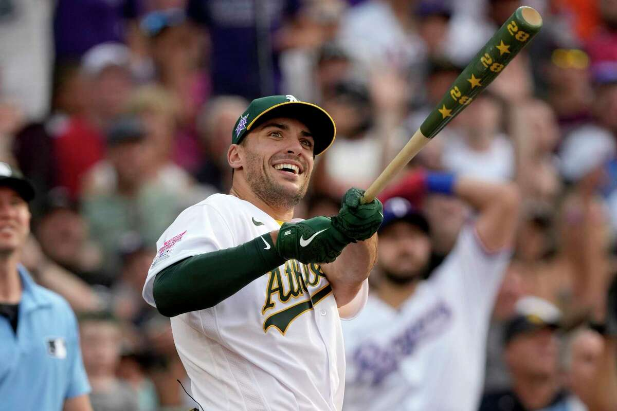 American League's Matt Olson, of the Oakland Athletics, hits during the first round of the MLB All Star baseball Home Run Derby, Monday, July 12, 2021, in Denver. (AP Photo/David Zalubowski)