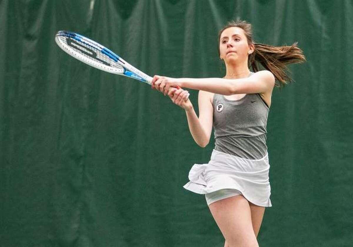 Paige Lesko was one of seven Principia college tennis players to be receive Intercollegiate Tennis Association Scholar Athlete Wednesday.