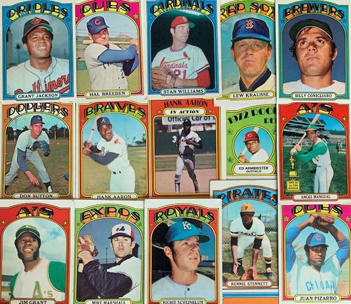 Through mid-July, 15 players from the 1972 Topps baseball card set had died in 2021. Not pictured is Dick Tidrow, who passed on July 10.