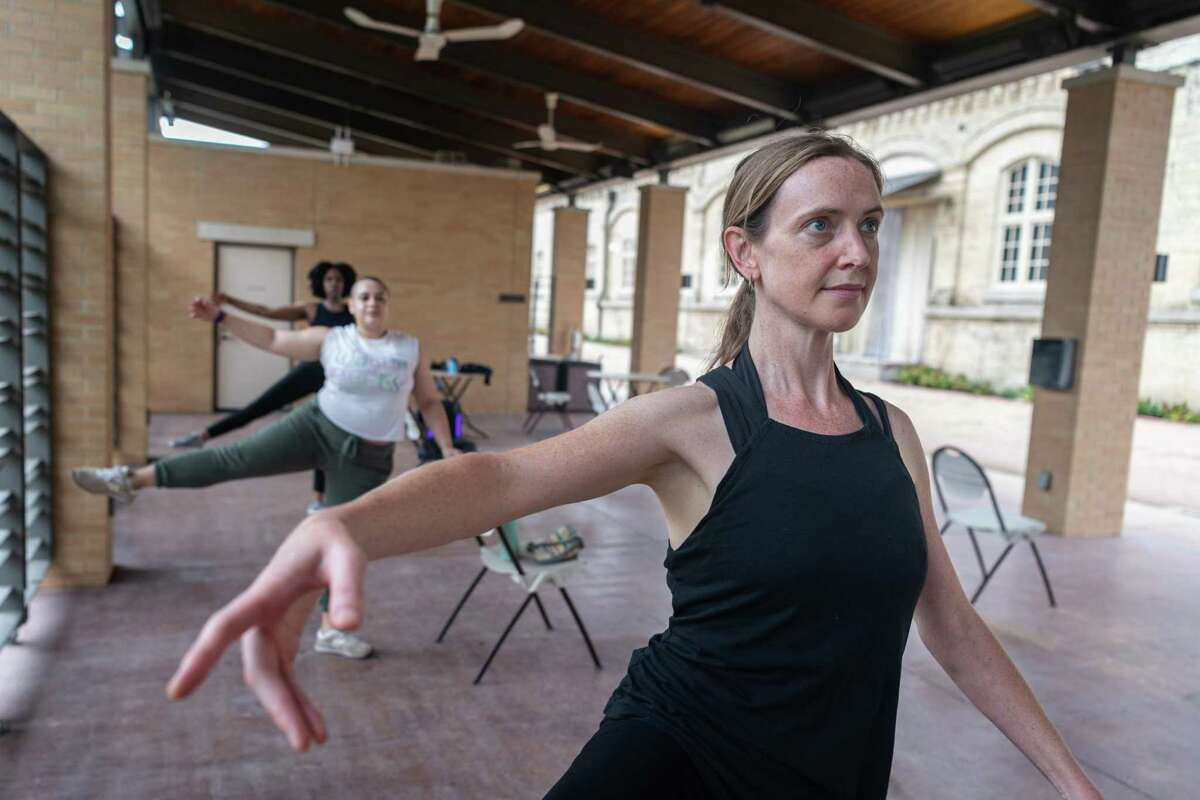 Bethanie Strunk, 47, takes part in the Ballet Conservatory of South Texas' Ballet in the Garden class at the San Antonio Museum of Art.