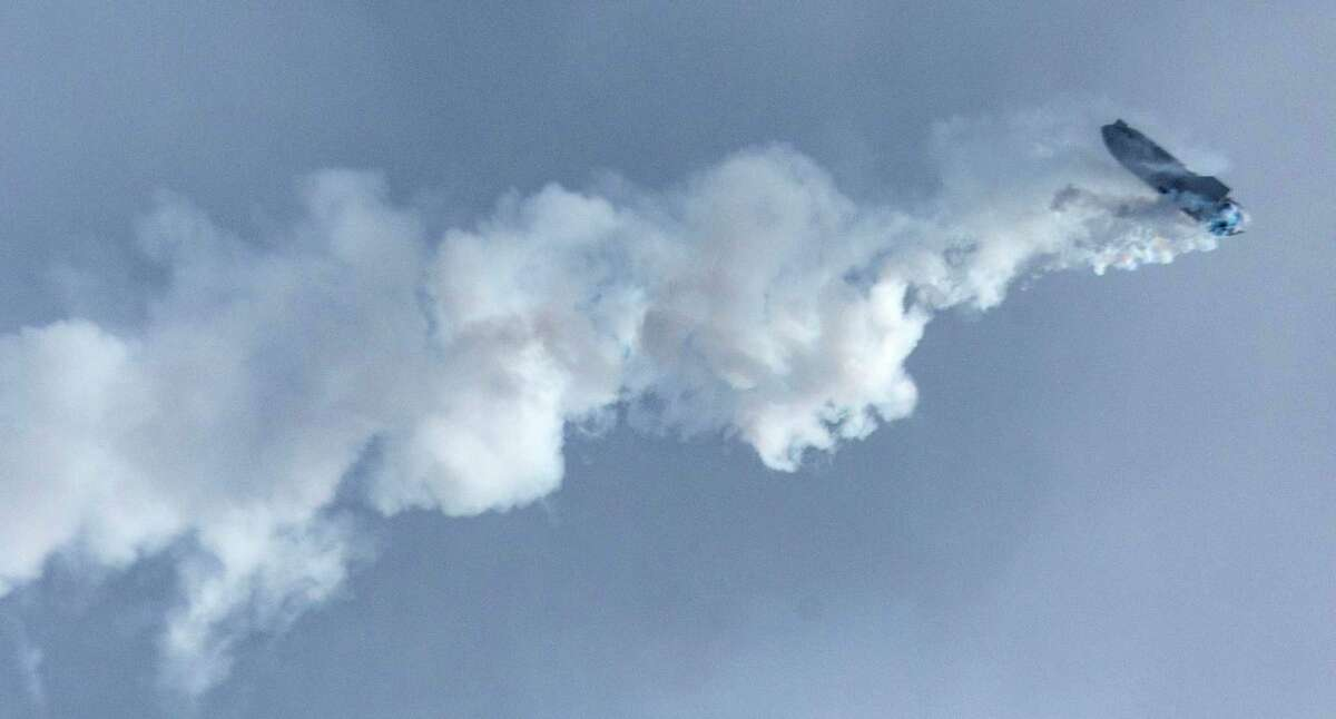 The SpaceX Starship SN10 performs a flip Wednesday, March 3, 2021 at the Boca Chica launch site as it prepares to return to the launch pad. The rocket landed and stood at an angle before catching fire and exploding.