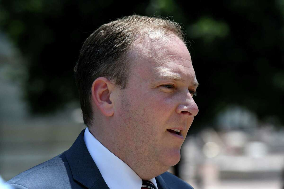 U.S. Rep. Lee Zeldin, the GOP challenger in the race to become New York's next governor, holds a press conference on Wednesday, July 14, 2021, at West Capitol Park in Albany, N.Y. (Will Waldron/Times Union)