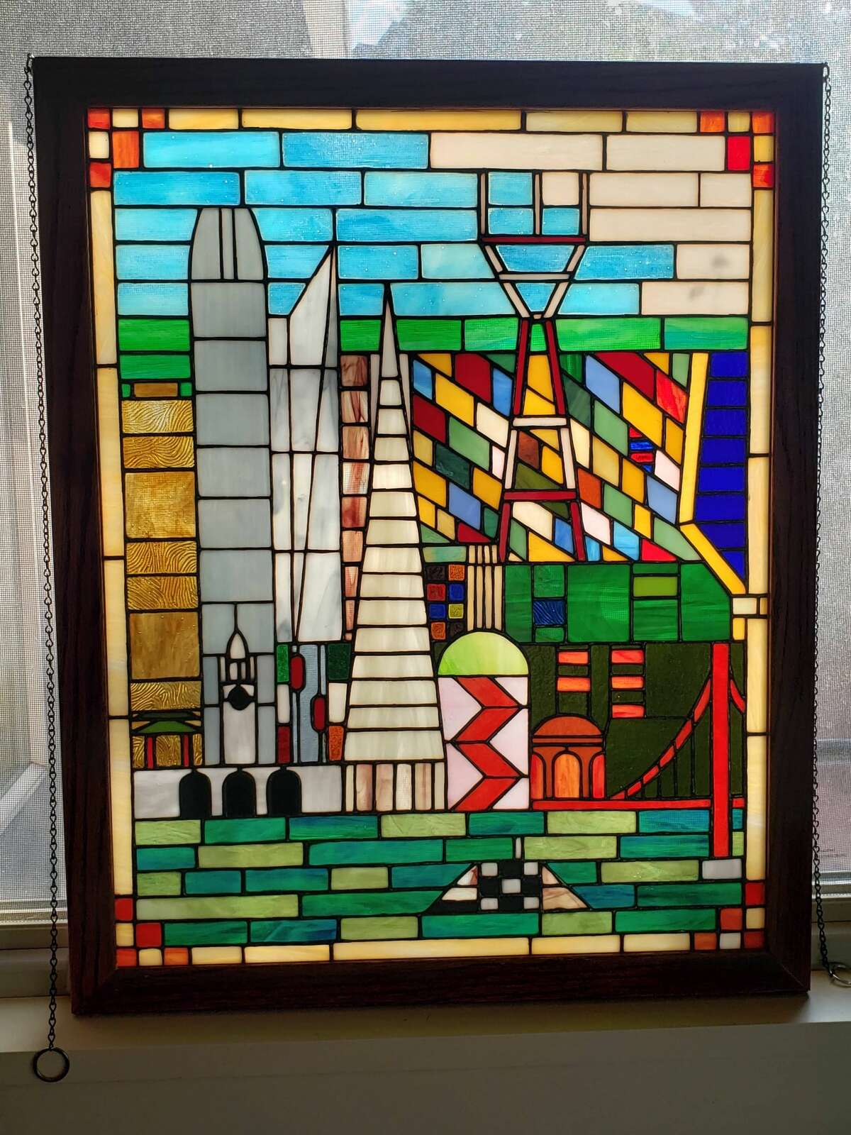 Stained glass created by artist Ryan Johnstone.