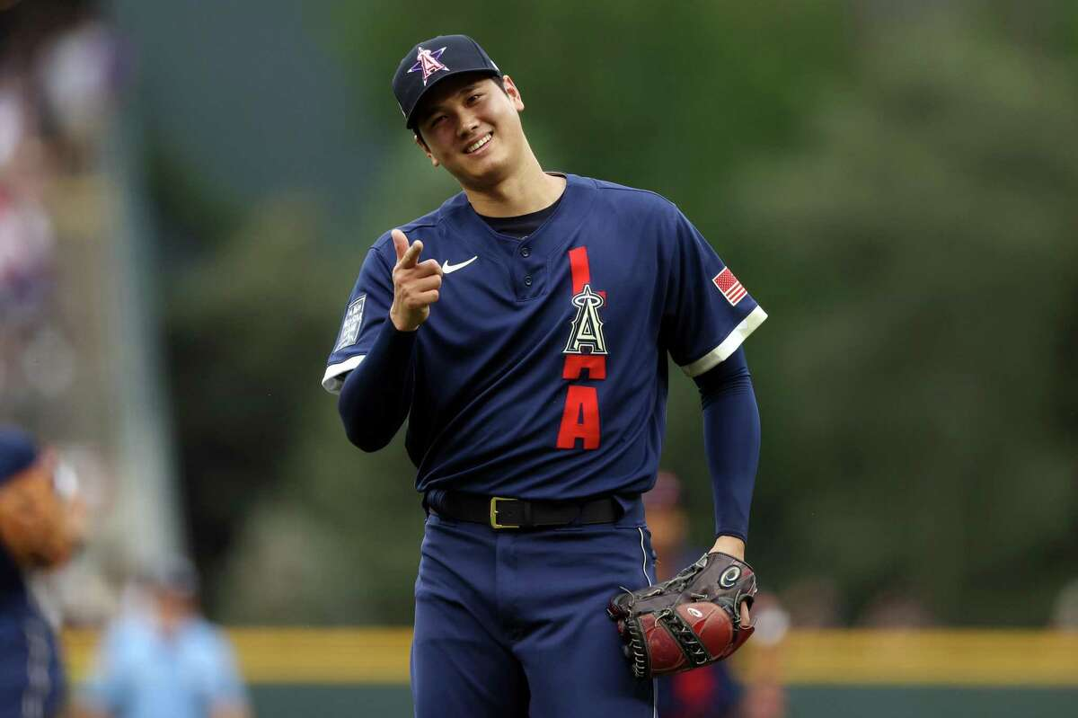 DENVER, COLORADO - JULY 13: Shohei Ohtani #17 of the Los Angeles Angels reacts in the first iinning during the 91st MLB All-Star Game at Coors Field on July 13, 2021 in Denver, Colorado. (Photo by Alex Trautwig/Getty Images)