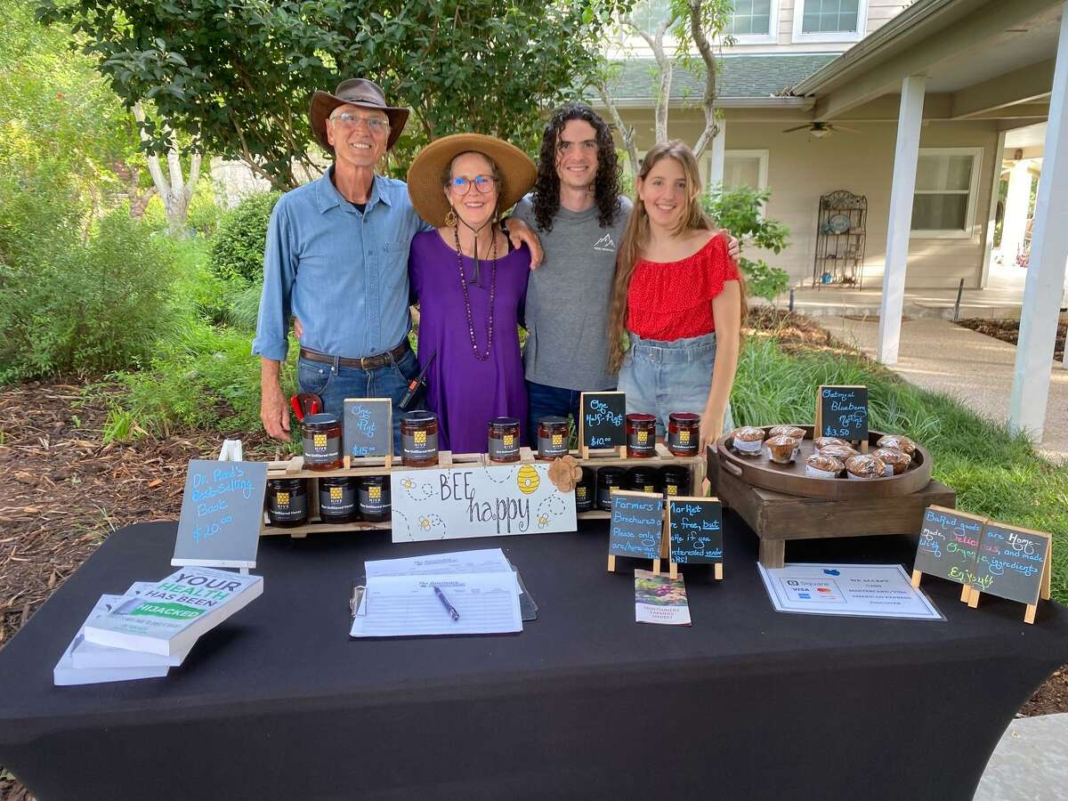 Pictured from left are Tom, Evangeline, Josh and Becca Reed from The Sanctuary Blueberry Farm between Conroe and Montgomery. The farm promotes healthy lifestyles and currently has a bumper crop of blueberries.