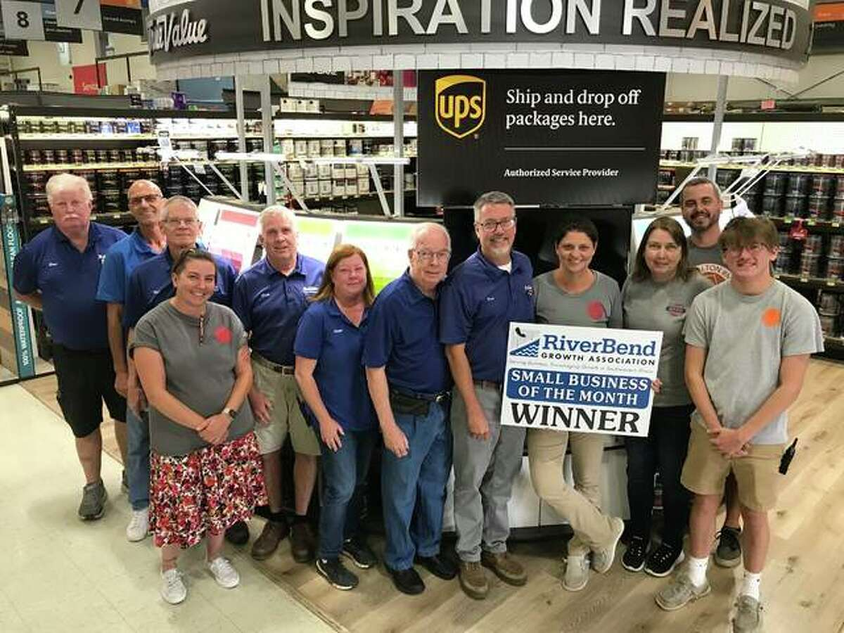 St. Peters Hardware & Rental in Alton has been named the RiverBend Growth Association's Small Business of the Month. Pictured from left are Steve Rynders, Keith Kremer, Ken Campbell, Jennifer Rose, Doug St. Peters, Ellen Bennett, Dale St. Peters, Dan St. Peters, Beth St. Peters, Danelle St. Peters, David Kasten and Nathan Bennett.