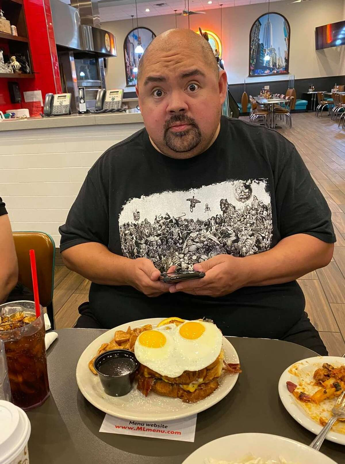Gabriel Iglesias is nearing the end of his 27-show stint, but not before giving a local restaurant some of his business.