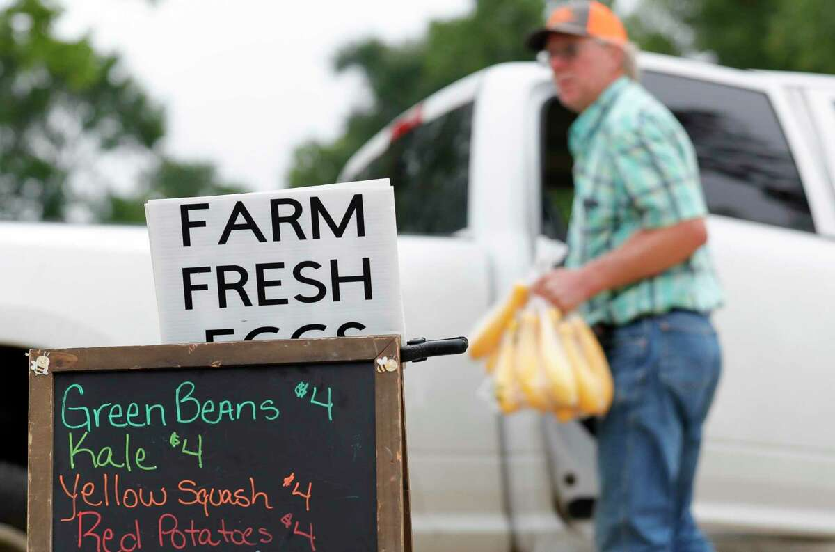 A list of offerings from Kmice Farm are seen at the Farmer's Market on Tamina, Saturday, April 18, 2020, in Magnolia.