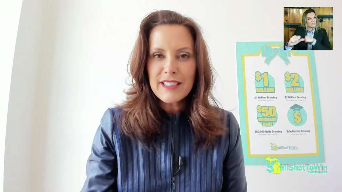Gov. Gretchen Whitmer appears in a video posted to Facebook Wednesday, July 14, 2021 to announce winners of the MI Shot to Win Sweepstakes.