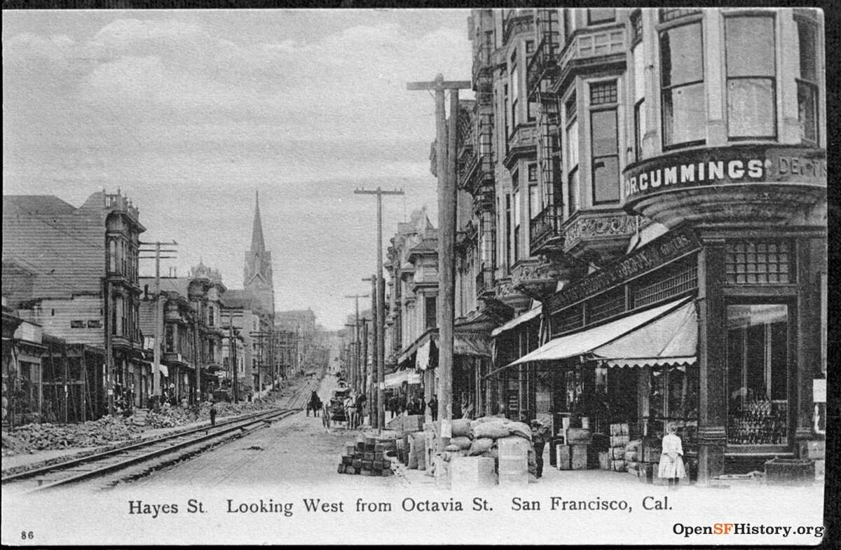 The view of Hayes and Octavia in Hayes Valley, San Francisco, circa 1907.