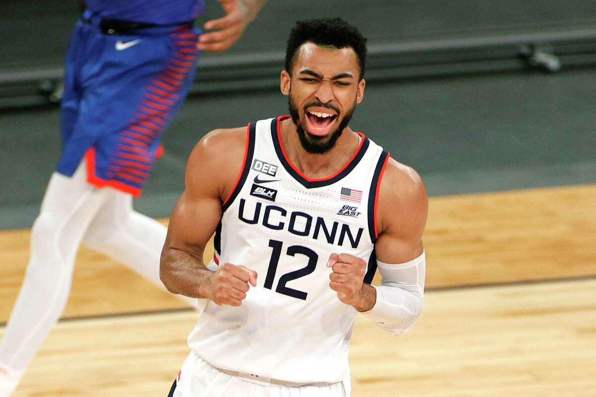 UConn's Tyler Polley reacts during a Big East quarterfinal against DePaul at Madison Square Garden in New York on March 11.