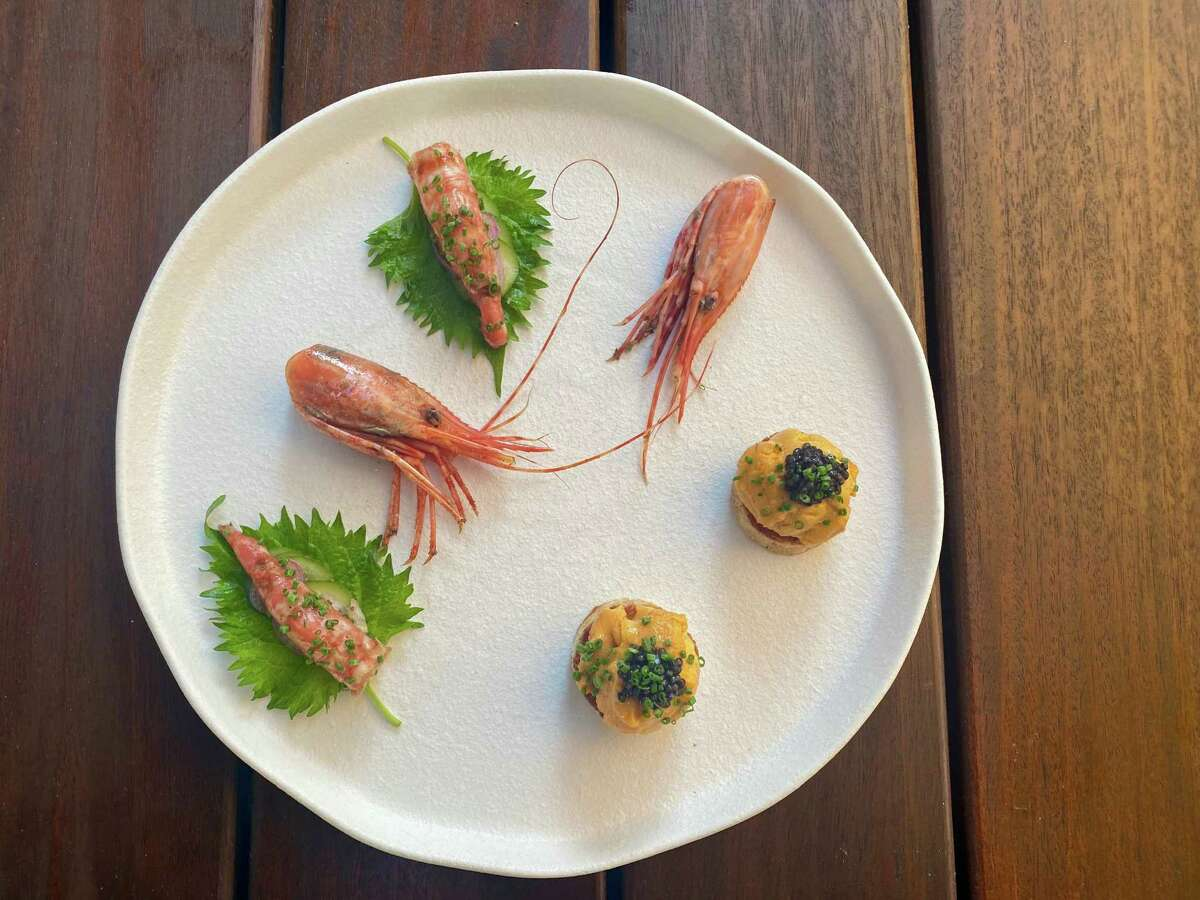 Spot prawn shiso wraps with tamarind from One Fish Raw Bar in Campbell.