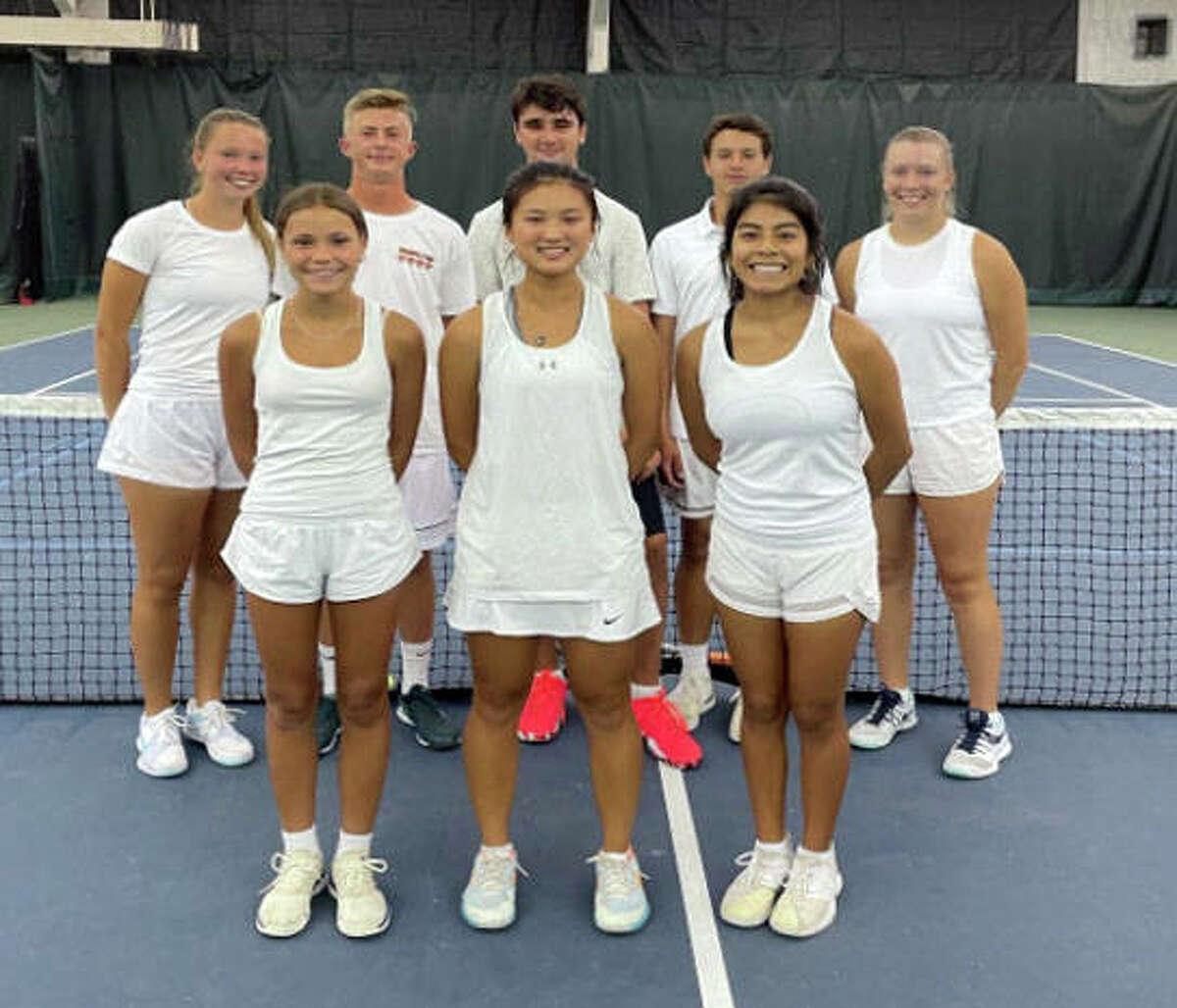 Members of the Edwardsville Junior Tennis 18 Gold team pose inside the YMCA Meyer Center.
