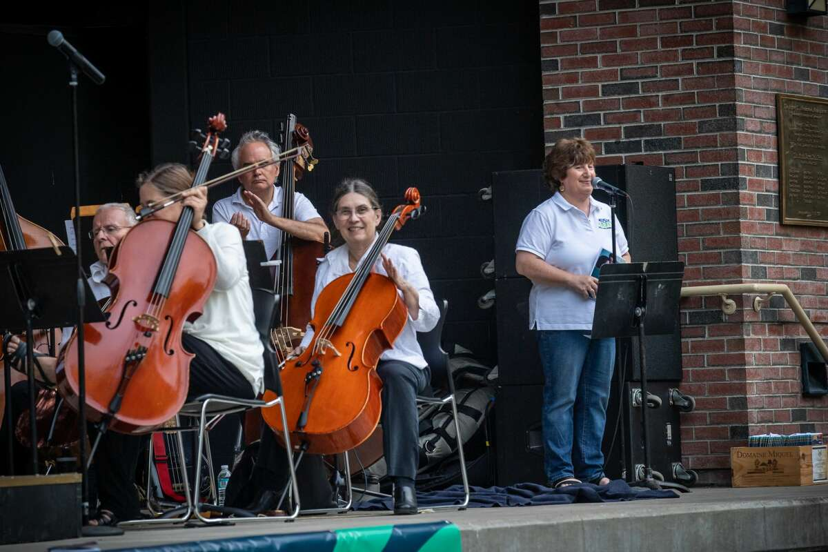 Schenectady Symphony Orchestra, shown above with Mona Golub at the mic, will perform at Music Haven on Aug. 29, 2021.