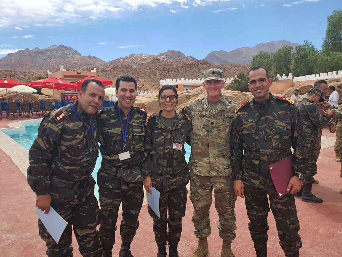 Dr. Glenn Mandeville (fourth from left) poses for a photo with his medical team in Morocco while on the Africa Lion 2021 exercise.
