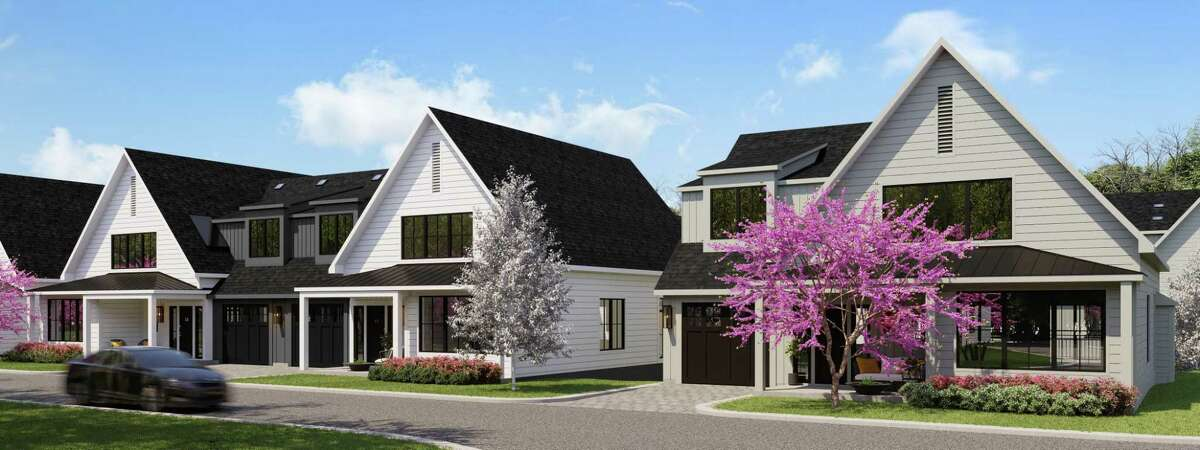 A rendering shows a duplex and a single-family home at a planned elderly-housing development at 40 Fullin Road.
