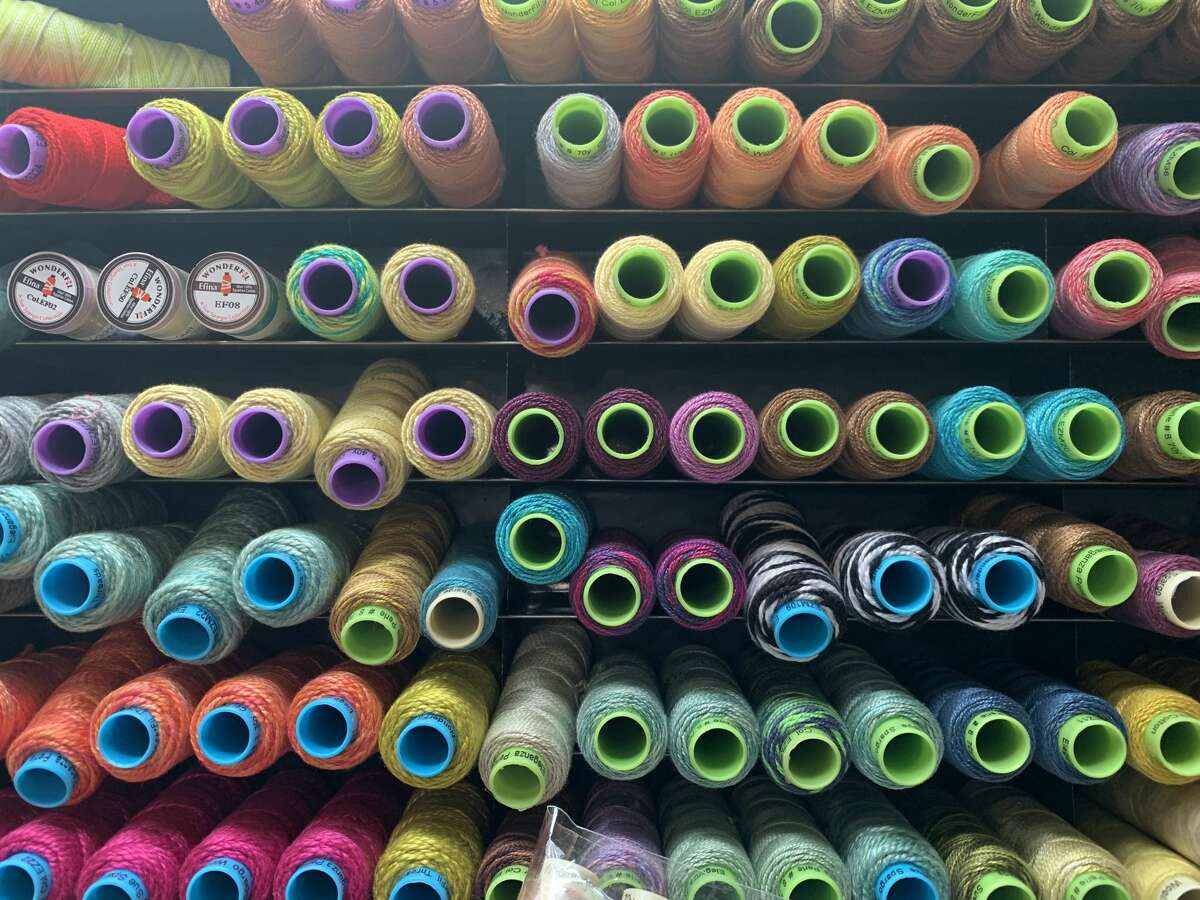 The quilt shop has a wide selection of threads for all your quilting and sewing projects on July 14, 2021.