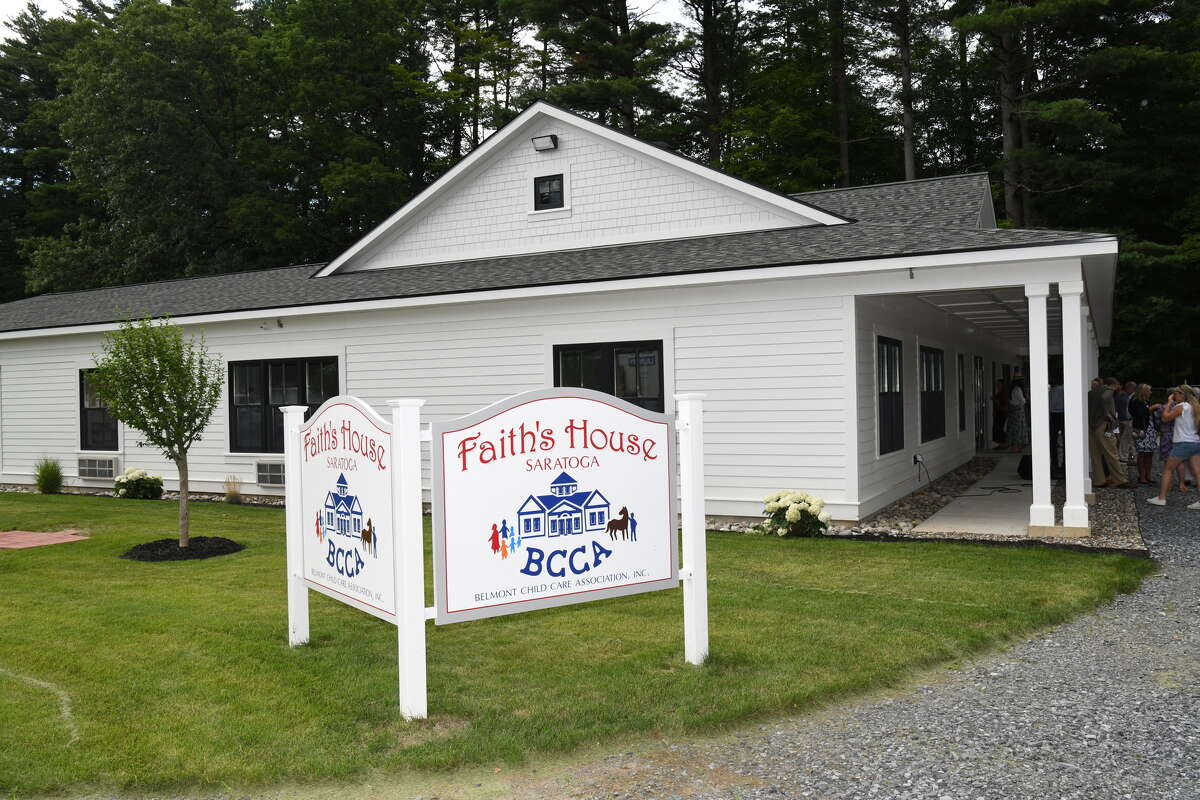 Faith's House, a new child care center at Saratoga Race Course for the families of backstretch workers is open for its first season. A ribbon cutting was held Wednesday, July 14, 2021 in Saratoga Springs, N.Y. The center was founded by thoroughbred owners Michael and Lee Dubb.