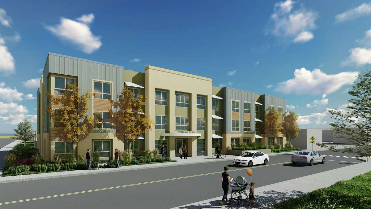 A rendering of the Veterans Square affordable housing project in Pittsburg that Apple helped fund.